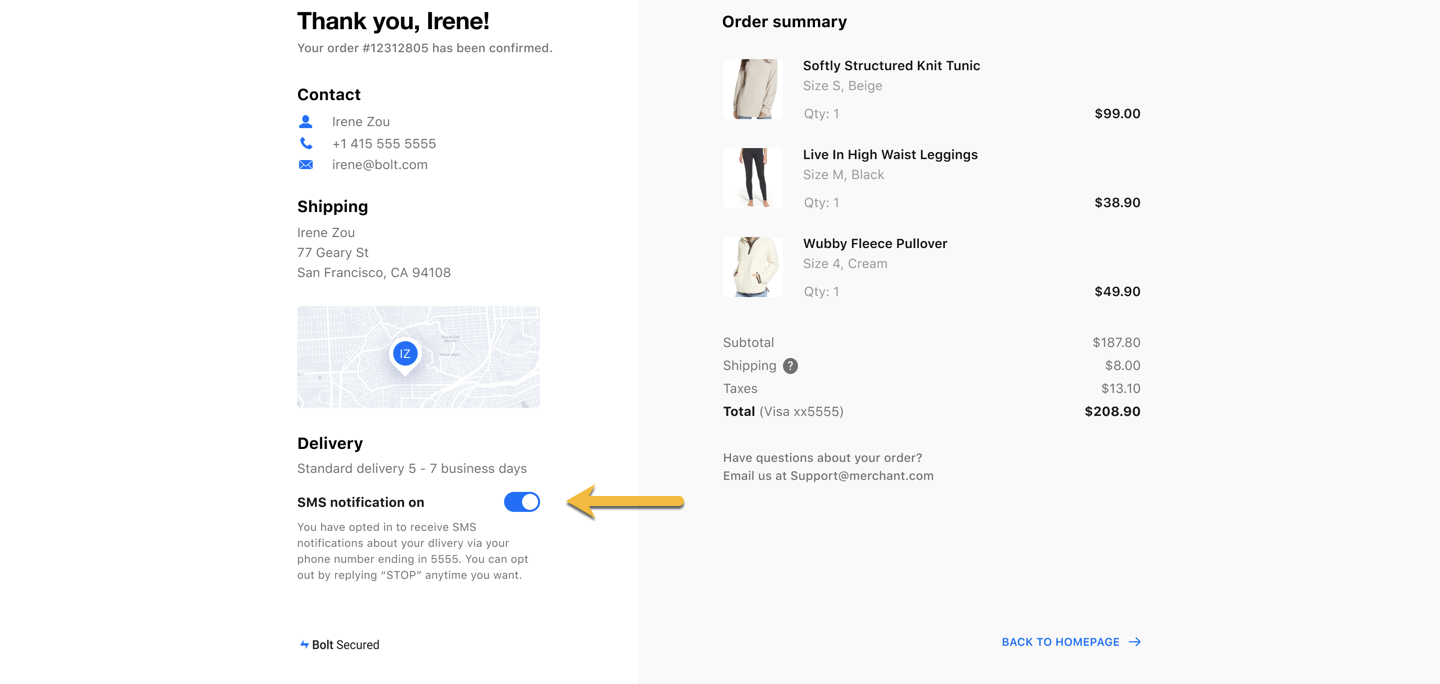 confirmation order tracking